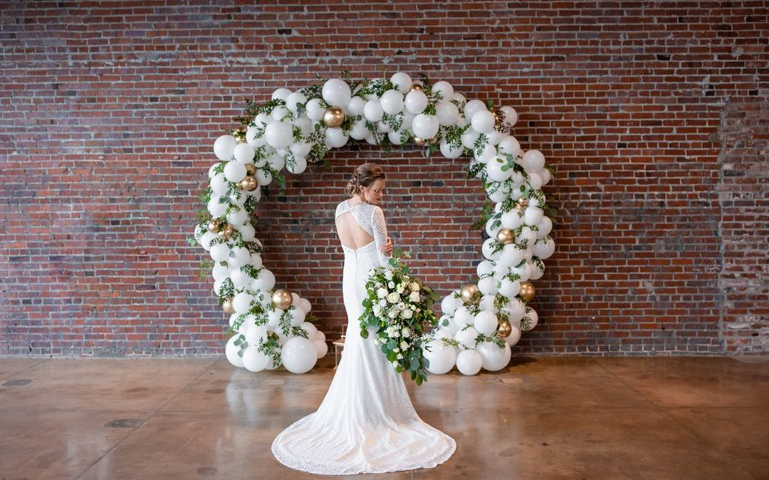 Modern Warehouse Wedding Styling in Green and Gold