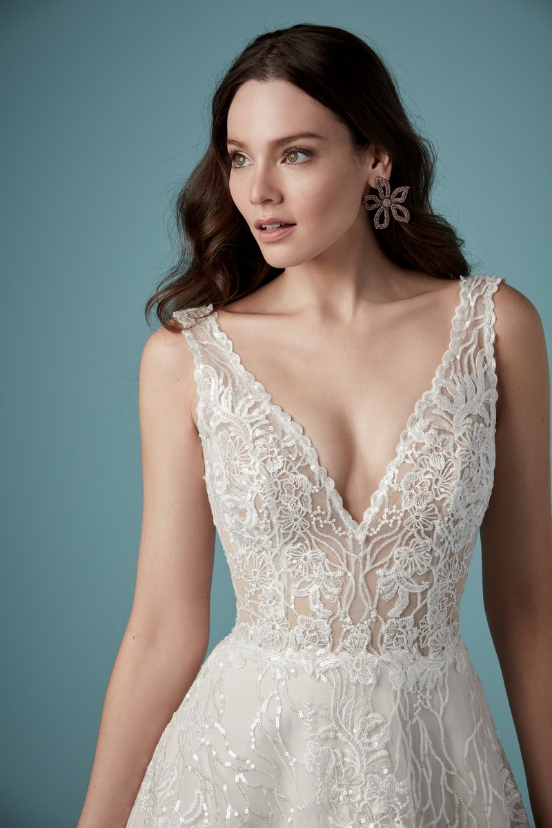 Detail on Ricarda Rose Wedding Dress from the Maggie Sottero Ambrose Fall 2019 Bridal Collection