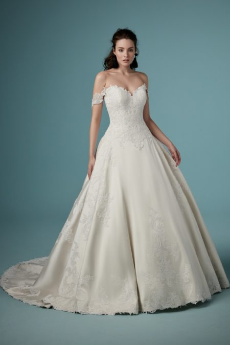 Sheridan Wedding Dress with Detachable Sleeves from the Maggie Sottero Ambrose Fall 2019 Bridal Collection