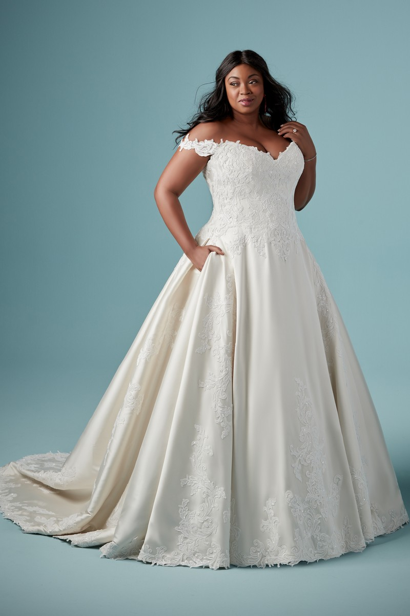 Sheridan Plus Size Wedding Dress with Detachable Sleeves from the Maggie Sottero Ambrose Fall 2019 Bridal Collection
