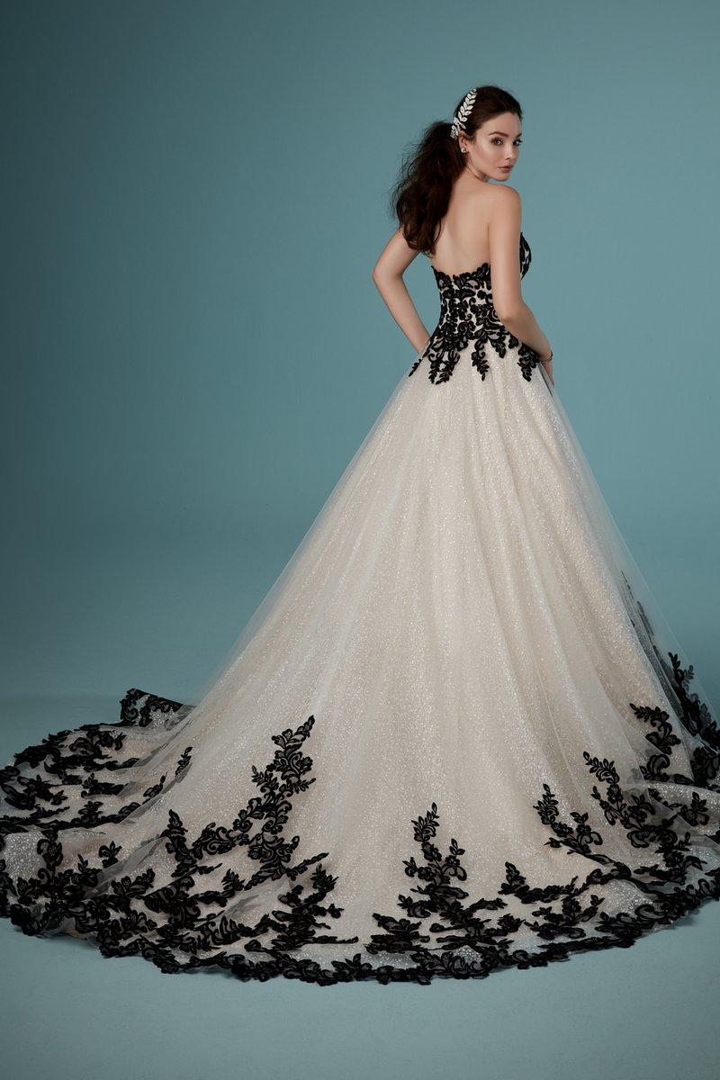 Back of Tristyn Wedding Dress in Black Over Champagne from the Maggie Sottero Ambrose Fall 2019 Bridal Collection