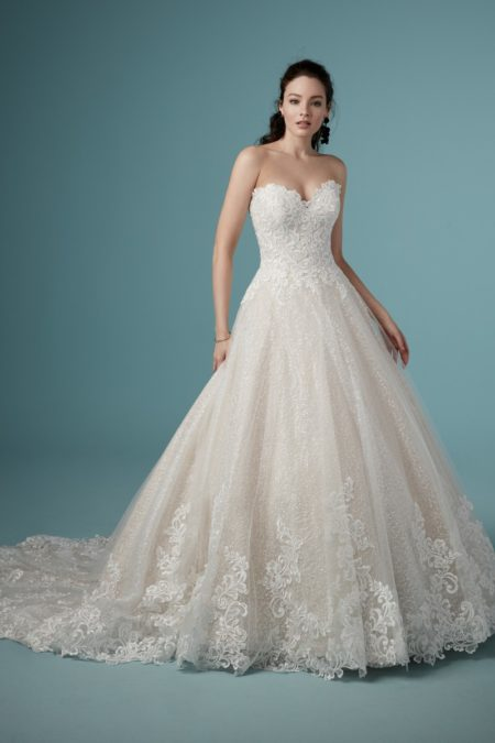 Tristyn Wedding Dress in Ivory Over Champagne from the Maggie Sottero Ambrose Fall 2019 Bridal Collection