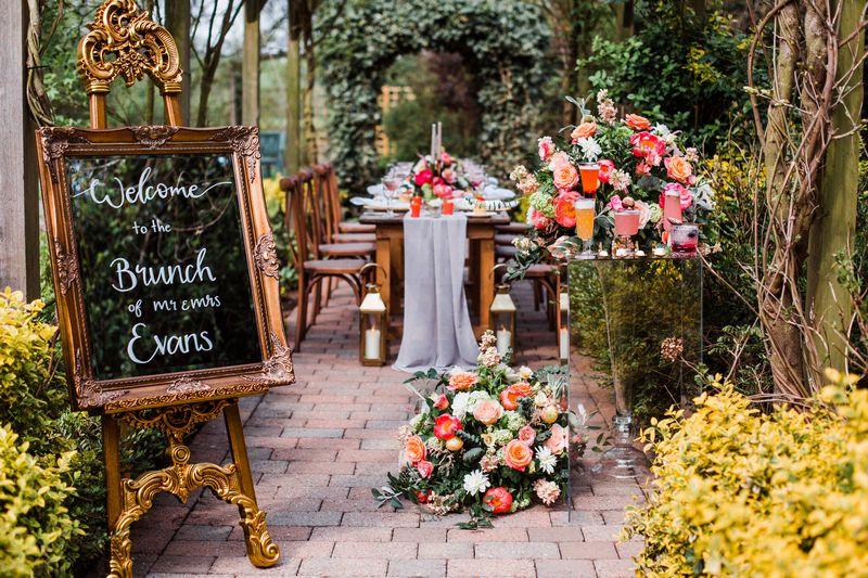Wedding table outside at Sandburn Hall