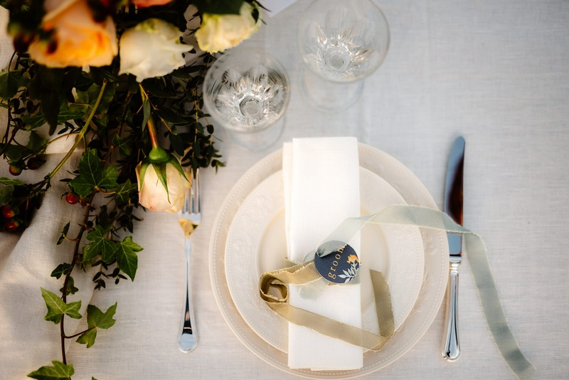 Simple table setting for elopement dinner