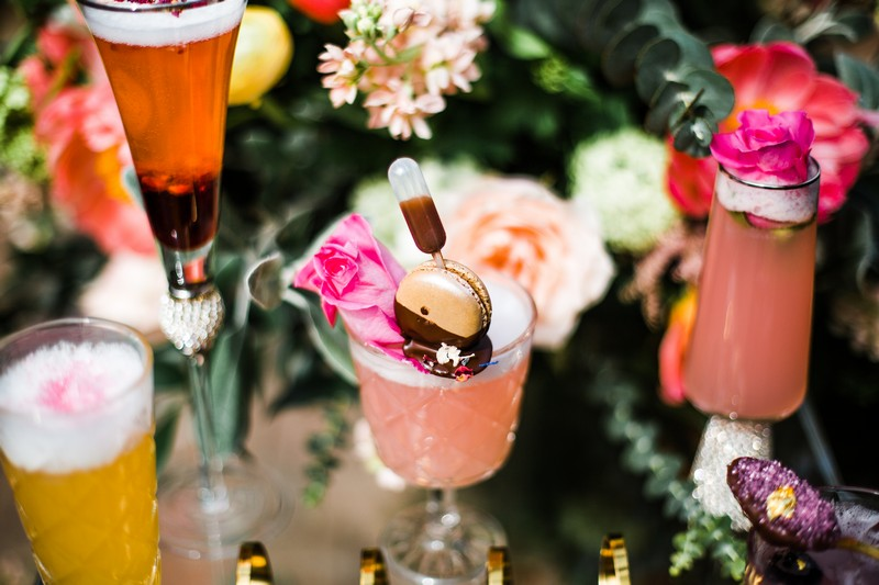 Living Coral coloured wedding cocktail