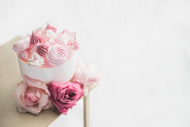Bowl of pink meringues