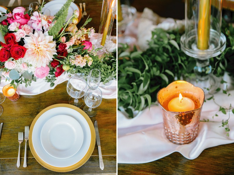 Wedding place setting and gold votive