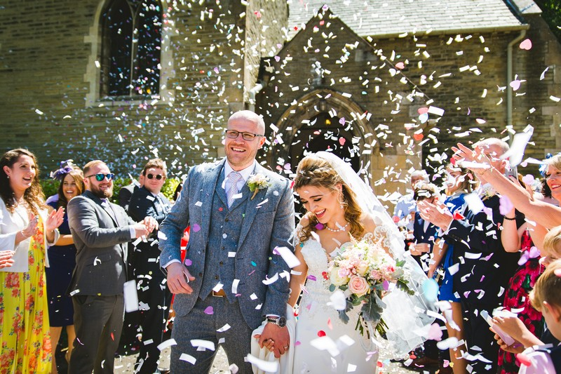 Wedding confetti shot outside church