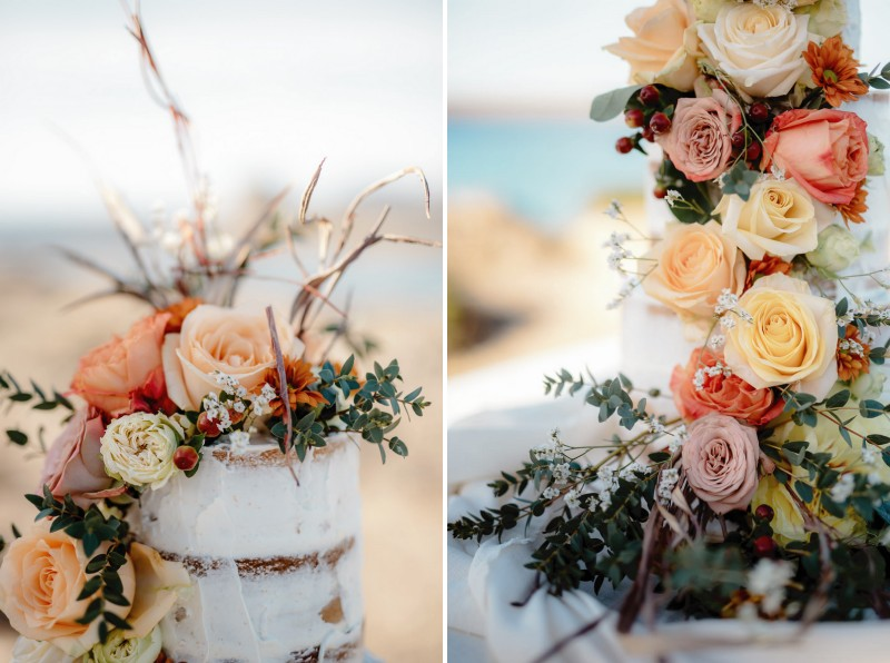 Fresh flowers and foliage on naked wedding cake