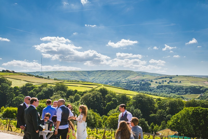 Wedding drinks reception outside at Holmfirth Vineyard