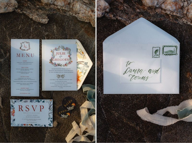 Stationery for beach elopement