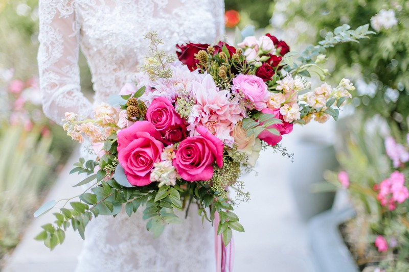 Bridal bouquet with burgundy and pink flowers