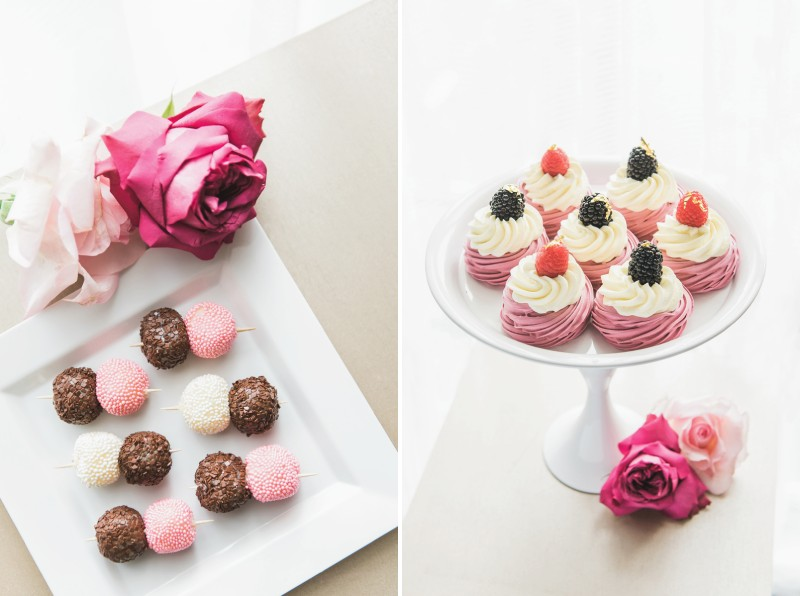 Pink, white and brown chocolate truffles and pink swirl cupcakes