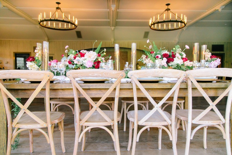 Wooden wedding table and chairs