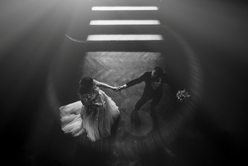 Aerial shot of bride and groom first dance - Picture by Rares Ion