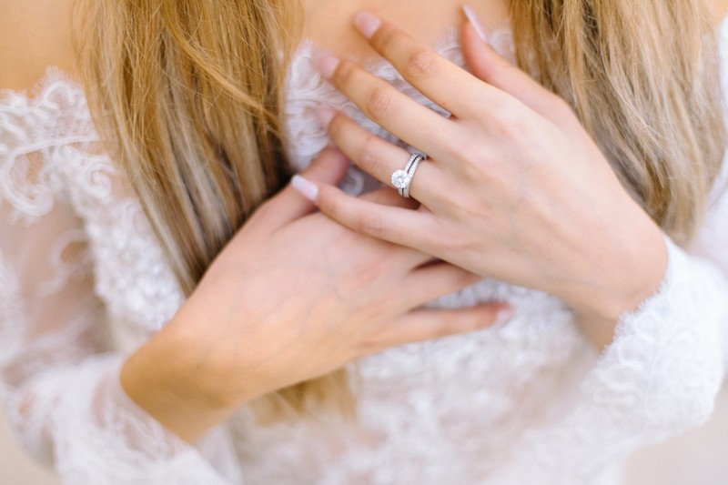 Wedding ring on bride's finger