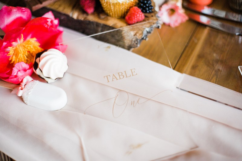 Perspex wedding table number with gold lettering