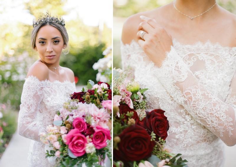 Detail of bride's lace wedding dress