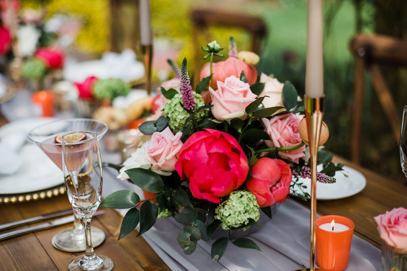 Pink and coral wedding table flowers