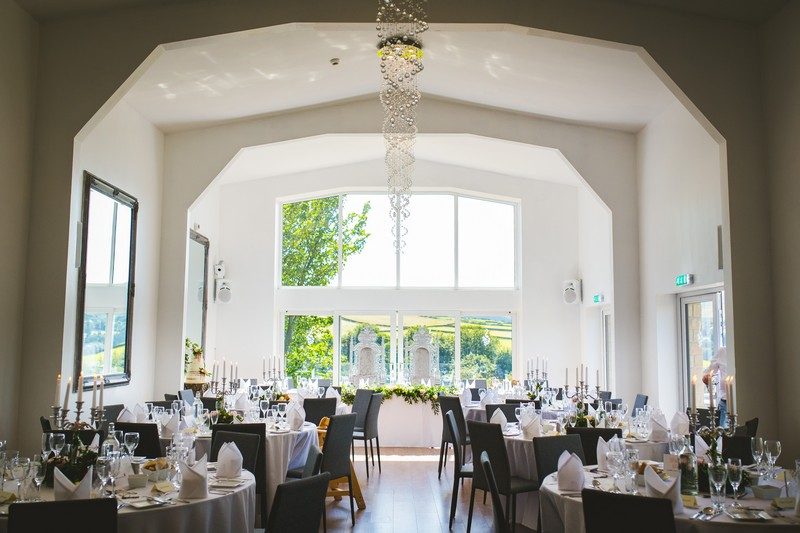 Wedding tables in dining room at Holmfirth Vineyard