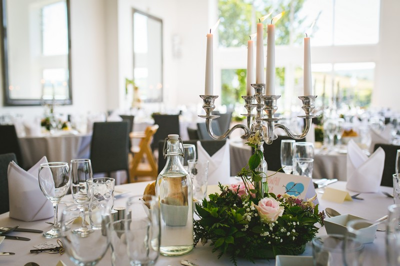 Candelabra on wedding table