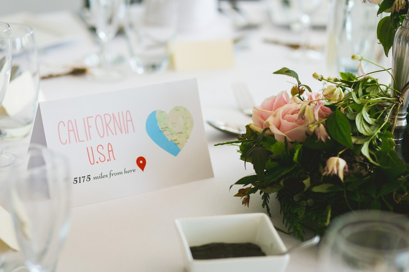 California wedding table name card