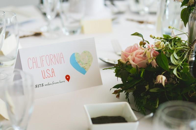 California wedding table name card