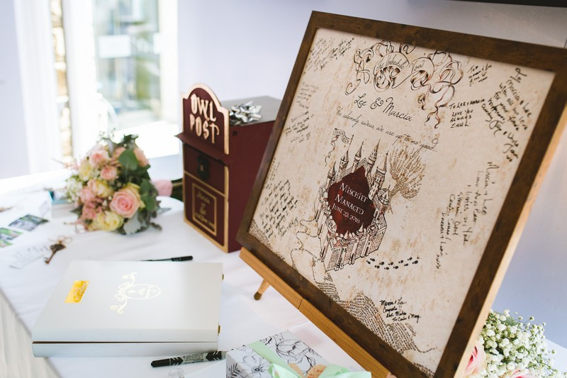 Wedding guest book in style of Harry Potter Marauder's Map