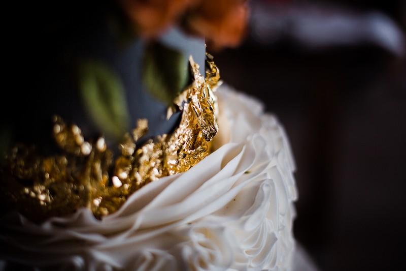 Gold leaf on wedding cake