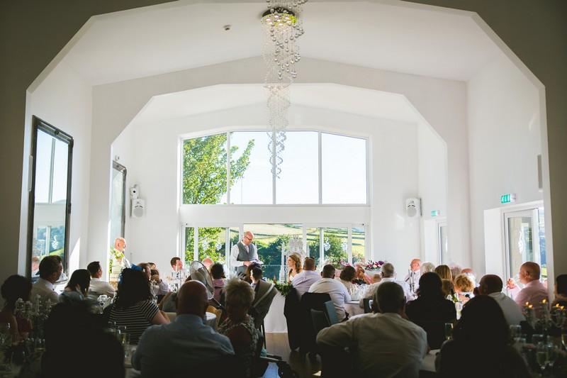 Groom giving wedding speech at Holmfirth Vineyard