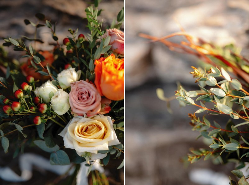 Flowers and foliage in bridal bouquet