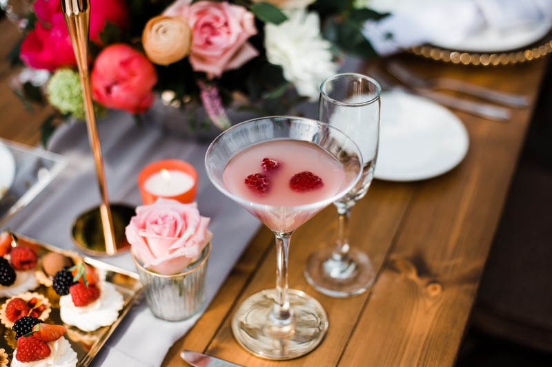 Pink drink on wedding table