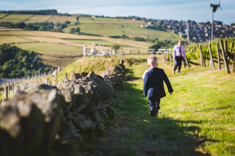 Pageboy walking around Holmfirth Vineyard
