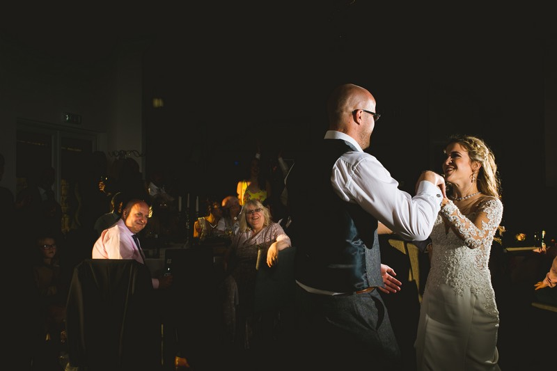 Bride and groom first dance at Holmfirth Vineyard