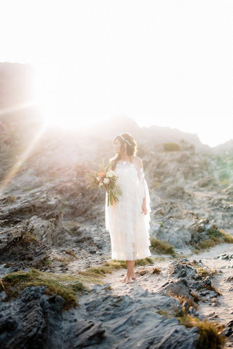 Boho bride on La Pelosa beach