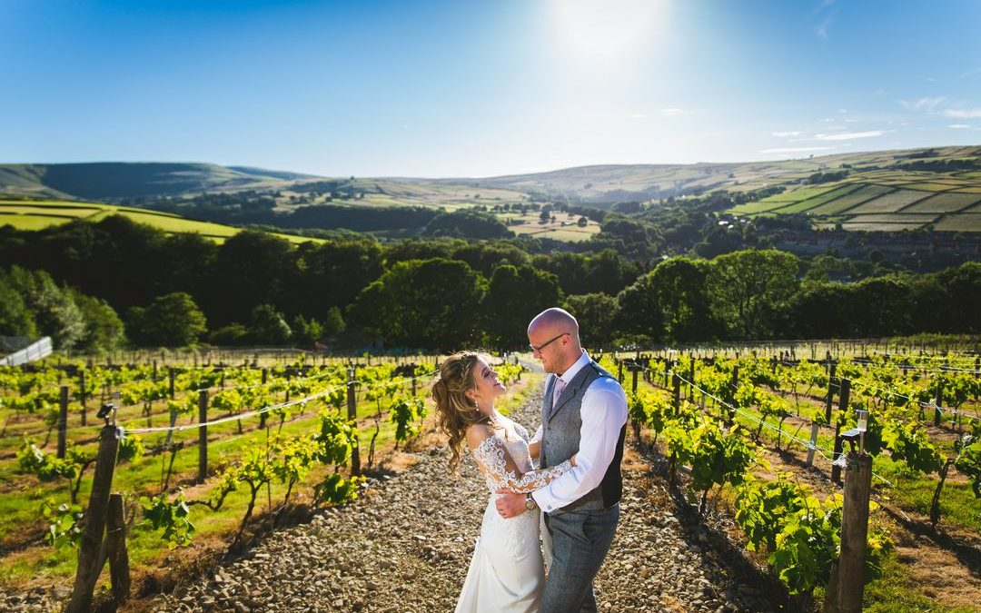 A Holmfirth Vineyard Wedding with Pink and White Shades