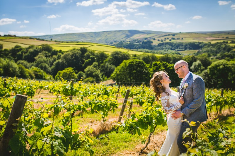 Bride and groom at Holmfirth Vineyard