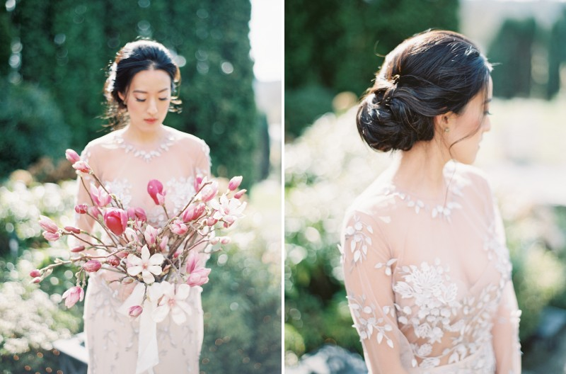 Bride holding bouquet of pink and white magnolia