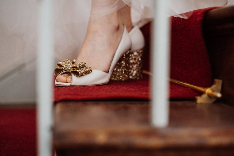 Bride's feet on stairs