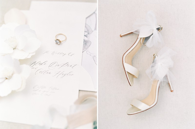 Wedding invitation, ring and bridal shoes