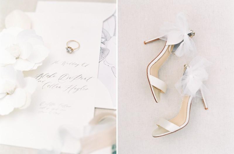 Wedding invitation, ring and bridal shoes