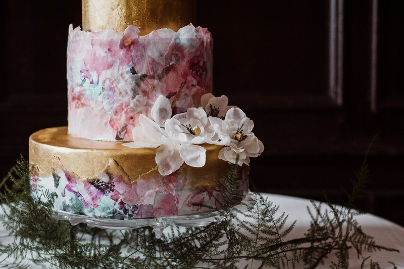 Wedding cake decorated with floral design