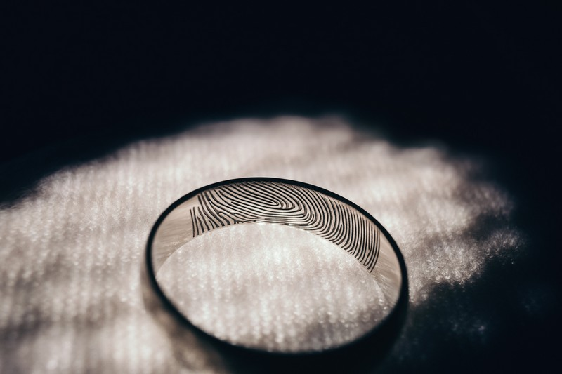 Wedding ring with fingerprint