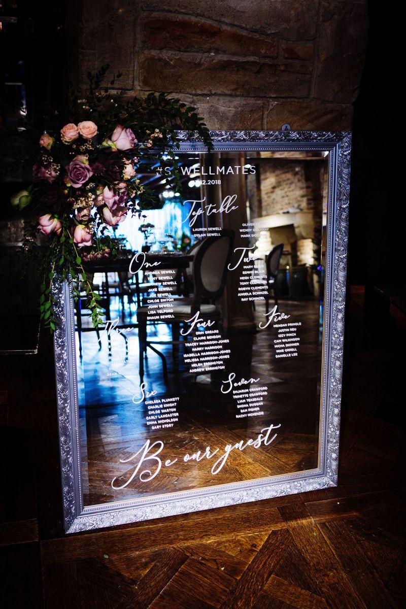 Wedding table plan on mirror