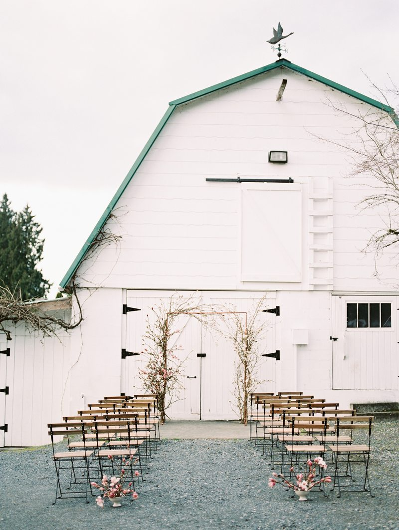 Wedding ceremony seating outside DeLille Cellars