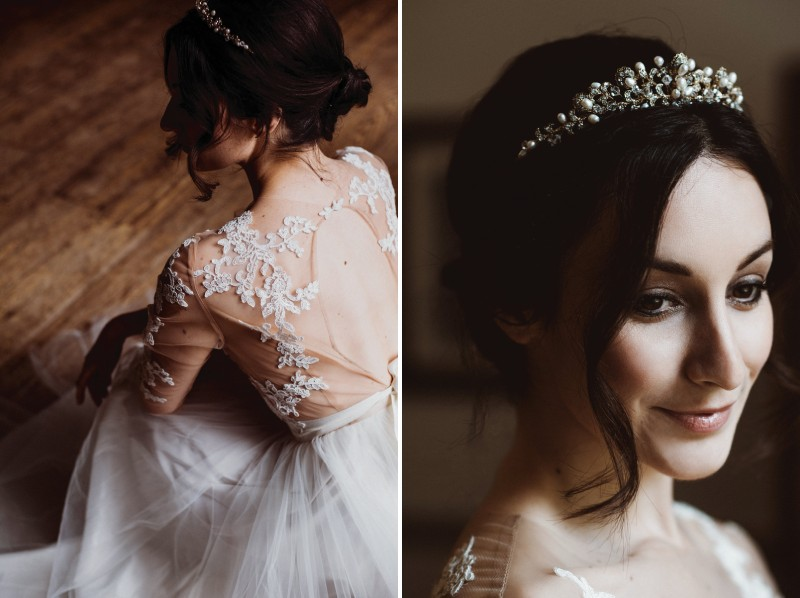 Bride wearing wedding dress with leaf detail and headpiece