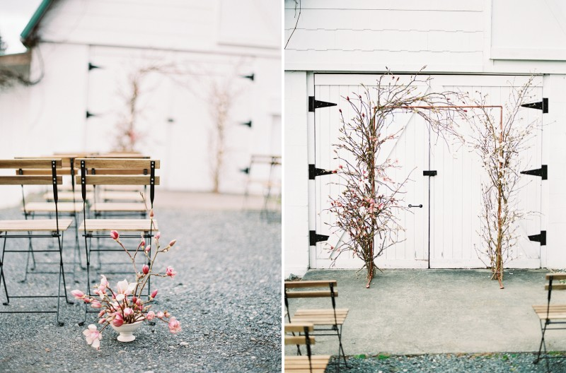 Magnolia flowers by ceremony seating and magnolia floral ceremony arch