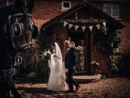 Horse waiting as father walks with bride from house - Picture by The Soulcase