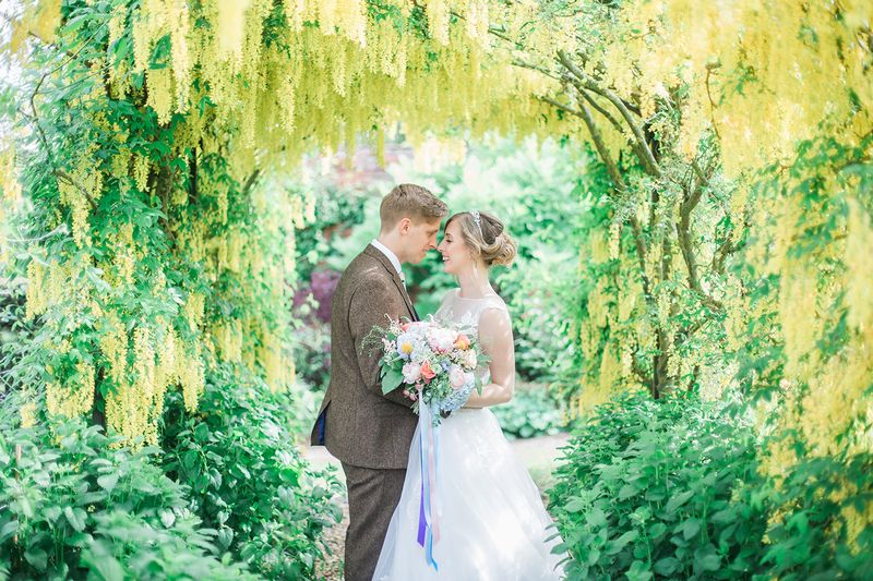 Bride and groom framed by tree branches and hanging foliage - Picture by Ella Parkinson Photography