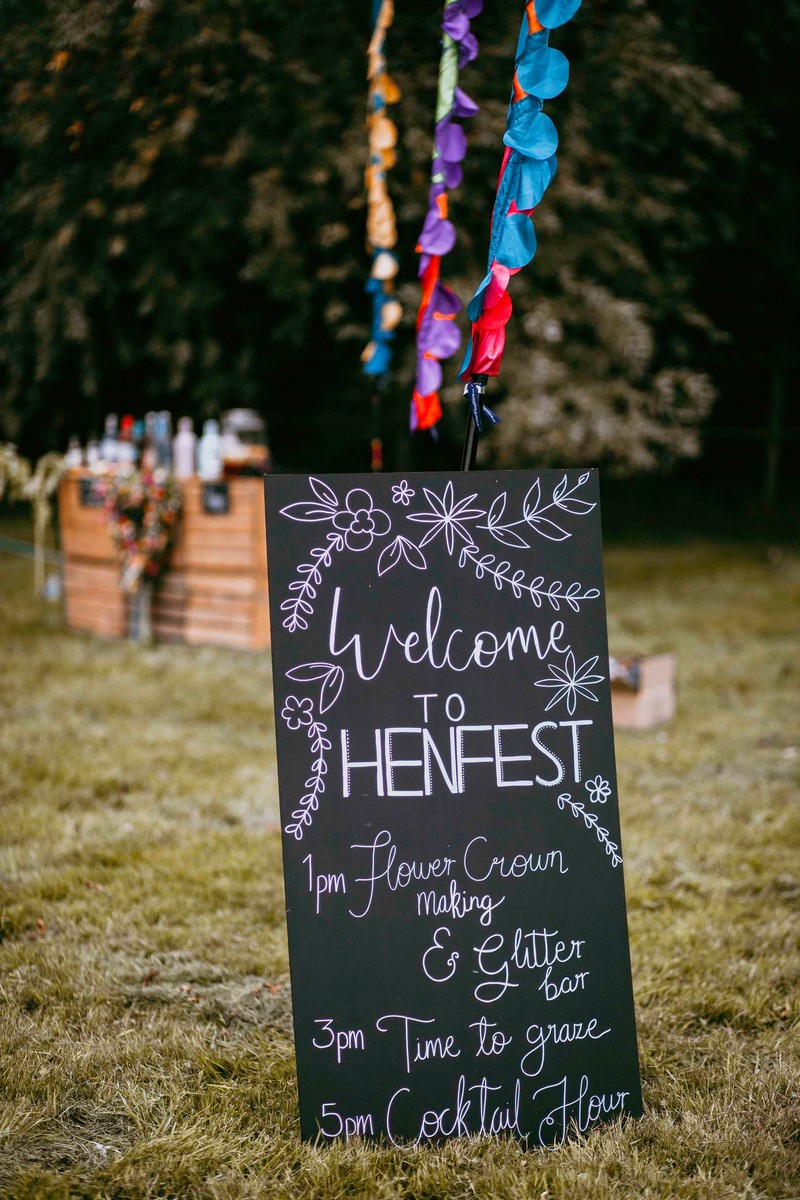Chalkboard sign for Henfest festival hen party